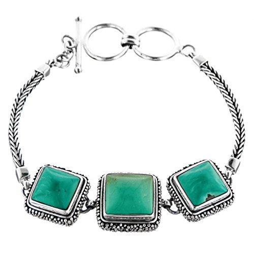 Triple Square Turquoise Filigree Handmade 925 Sterling Silver Toggle Bracelet, 7