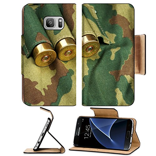 Liili Premium Samsung Galaxy S7 Flip Pu Leather Wallet Case IMAGE ID: 18130087 Old hunting cartridges and bandoleer on camouflage background