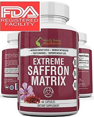 * MEGA SAFFRON MATRIX * 100% Natural Appetite Suppressant For Men And Women – Supports Weight Loss - Purest Grade A+ Saffron - Insomnia Reducer - Saffron 8825 - Saffron Supplement For Depression