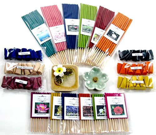 Relaxation with aroma, 6 packs of 10 smokeless fragrance incense tube, 6 packs of 10 mini sizes aroma incense tube, 6 packs of 10 fragrance Incense cones & 2 handmade (Primo Incense)