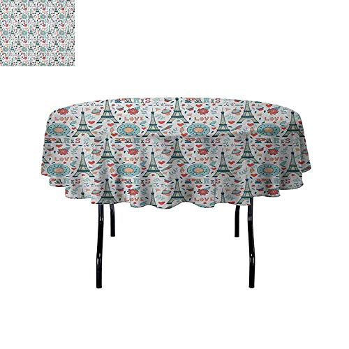 Eiffel Waterproof Anti-Wrinkle no Pollution Retro Colored Cheerful Composition with Floral Figures Cupcakes and Je`Taime Print Table Cloth D55 Inch Multicolor]()