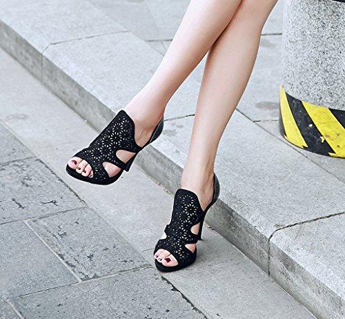 Lizform Donna Borchie Open Toe Sera Tacco Alto Scarpe Con Tacco Impreziosito Scarpe Slip On Sandali Neri