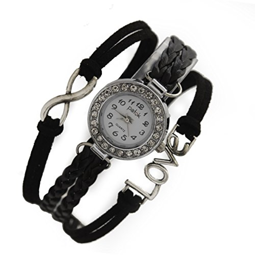 Women's Black Braided Leather Strap Watch - 9