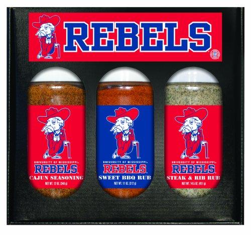 Mississippi Rebels NCAA Boxed Set of 3 (Cajun Seas,Stk/Rib Rub, BBQ Rub)