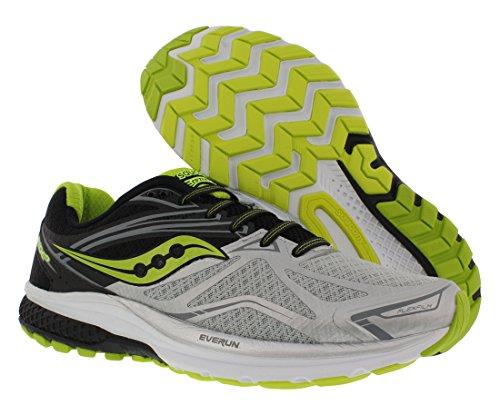 Saucony Men's Ride 9 Running Shoes, Multicolour (Silver/Black/Lime), 12 M US