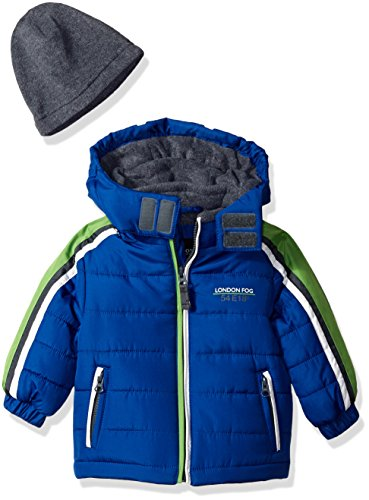 London Fog Baby Boys Active Heavyweight Jacket with Ski Cap, Real Blue, 24M
