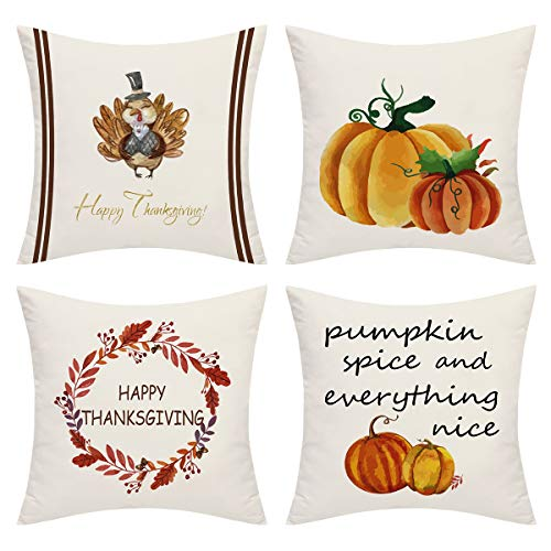 BLEUM CADE Set of 4 Throw Pillow Covers Happy Thanksgiving Day Pillow Covers Pumpkin Spice and Everything Nice Throw Pillow Case Cushion Covers Room Sofa Chair Car (Throw Pillows Nice)