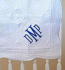 Monogram Baby Quilt 36 x 46 Inches White...