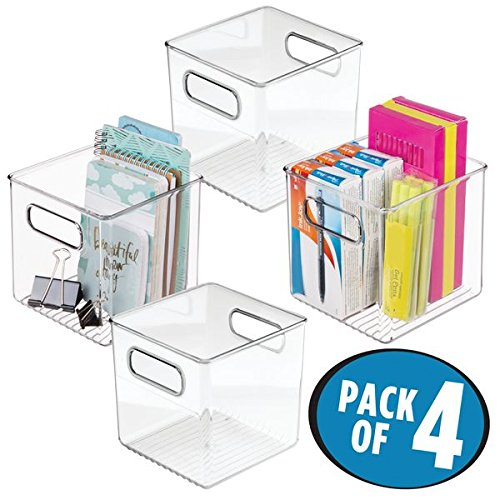 mDesign Office Supplies Desk Organizer Bin for Pens, Pencils, Markers, Highlighters, Tape – Pack of 4, Clear