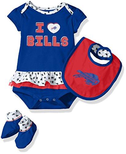 NFL Girls Newborn Buffalo Bills Team Love Onesie, Bib and Bootsies, 18 Months Baby Infant Jersey Onesie