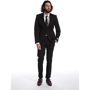 (カルバン クライン) Calvin Klein ストレッチ ウール100% 無地 シングル 2ツ釦 ノータック スーツ [CK5FYO110F9]ブラック / 48 [並行輸入品]