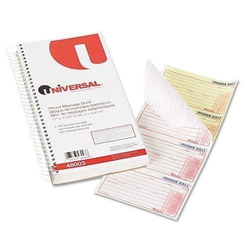 UNIVERSAL OFFICE PRODUCTS 48003 Wirebound Message Books, 2 3/4 x 5, Two-Part Carbonless, 400 Sets/Book