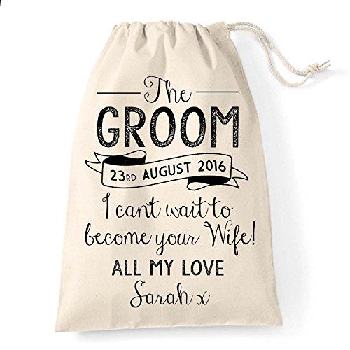 Borsa in cotone personalizzata, idea regalo per lo sposo, Vintage
