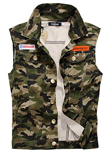LifeHe Men's Sleeveless Vintage Motocycle Camo Denim Vest Jacket Army Green (Camo, M) (Jacket Vest Camo)
