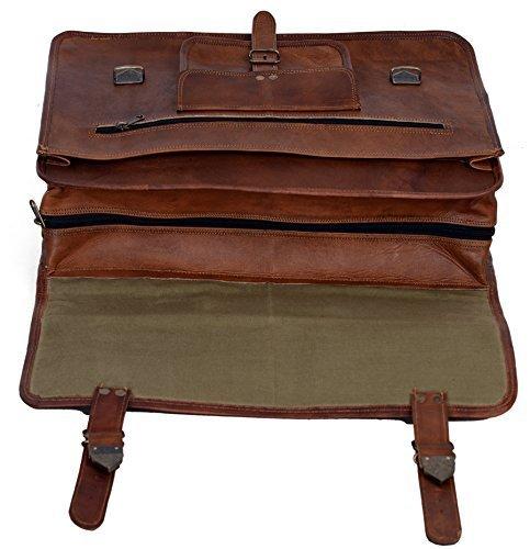 KPL 18 INCH Leather Briefcase Laptop Messenger Bag Satchel Office computer bag for men (18 INCH)
