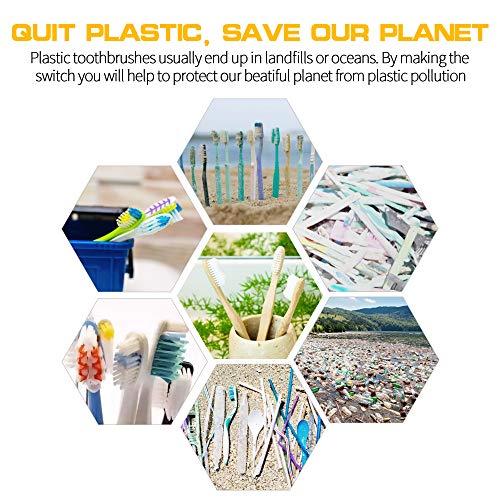 Spazzolino Bamboo 10 Pezzi, 100% Senza BPA - Bamboo Toothbrushes Naturali Vegano ed Ecologici con Setole di Carbone Morbide e Disegno Individuale, Confezione Biodegradabile Sostenibile