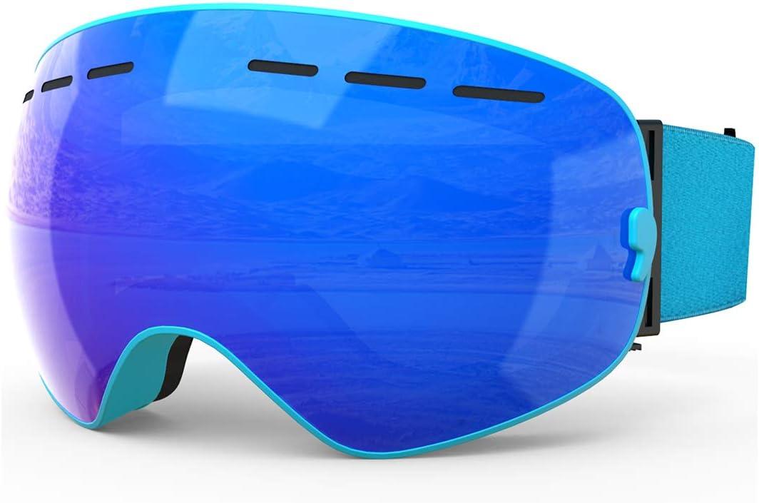 X-TIGER Gafas de Esquí, Gafas Esquí Snowboard para Mujer Hombre, Máscara Esquí OTG con Gran Campo de Visión, Doble Lente Anti-Niebla, 100% UV400 Protección, Lente Intercambiable