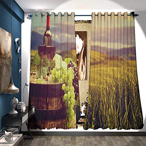 BlountDecor Thermal Insulating Blackout Curtain Italy Tuscany Landscape Rural Vineyard Autumn Harvest Grapes Drink Viticulture Customized Curtains W120 x L96 Green Black Brown