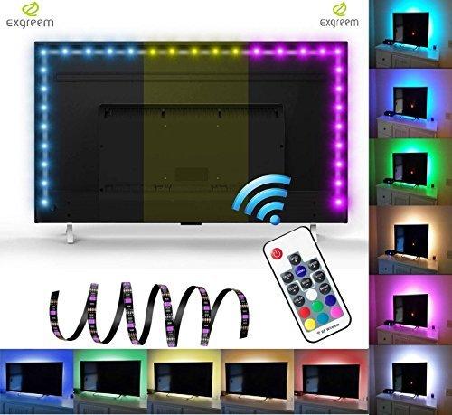exgreem neón Accent LED tiras + retroiluminación RGB luz con mando ...