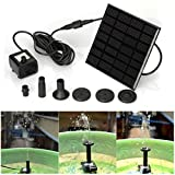 Coohole Solar Water Panel Power Fountain Pump Kit Pool Garden Pond Watering Submersible, Black (Black)