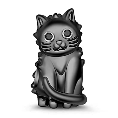 GNOCE - Abalorio para pulsera, diseño de gato, plata de ley, color ...