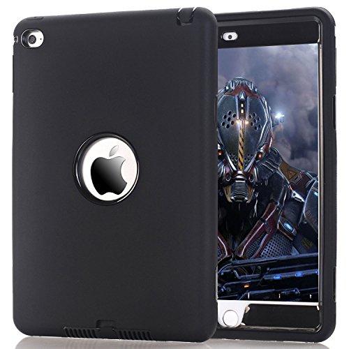 Ipad Black Silicone (iPad mini 4 Case, HOcase Dual Layer Rugged High Impact Defender Drop Proof Silicone Protective Case Cover for iPad mini 4 - Black /)