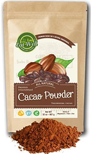 Cacao Powder | 32 oz (2 lb) Bag | Dark Cacao Powder | Dutch-Process Cocoa Powder | Unsweetened Cocoa | Antioxidants and Resveratrol | Gluten Free |% 100 Natural | by Eat Well Premium Foods
