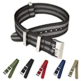 Carty High-Density Nylon Nato Strap Replacement Watchband Men 20mm 22mm Sport Watch Band