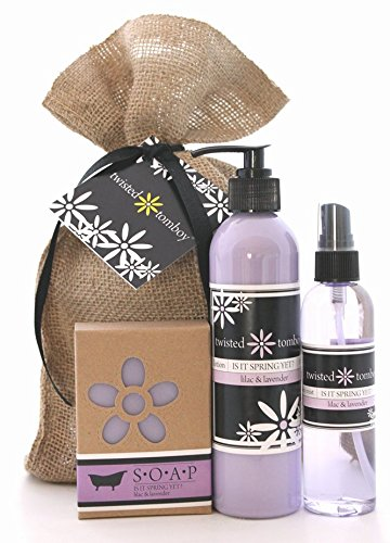 Lilac & Lavender 'Is It Spring Yet?' 3-Pack Gift Set - Incl. Nourishing & Moisturizing Aloe Lotion, Hydrating Body Mist and Goat Milk Soap - Perfect For Dry Hands, Face and Body HANDMADE IN THE U.S.A.