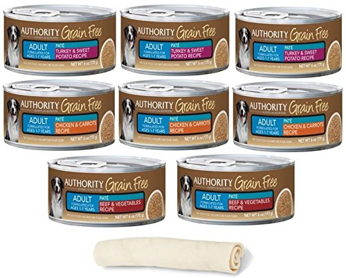 Authority Grain Free Adult Wet Dog Food Pate - 3 Flavor Bundle 6 Ounces Each - Pack of 8 Plus All Natural Dog Chew - (9 Items Total)