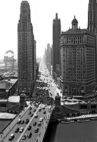 1940s Downtown Skyline Michigan Avenue Chicago Illinois Usa Poster Print By Vintage Collection (18 X - 1940 Chicago