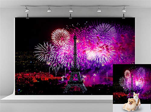 (Night Paris Eiffel Tower Backdrop Color Fireworks Photography Background Wedding Birthday Backdrop New Year Celebration Background Photo Booth Backdrop 7x5FT)