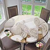 PINAFORE HOME Round Premium Tablecloth spa Treatment with Towels and Herbal Creams and Scrubs Stain Resistant 67''-71'' Round (Elastic Edge)