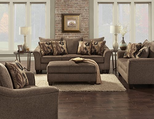 Roundhill Furniture LAF7703-02-01-05CC Camero Cafe Fabric 4-Piece Living Room Set
