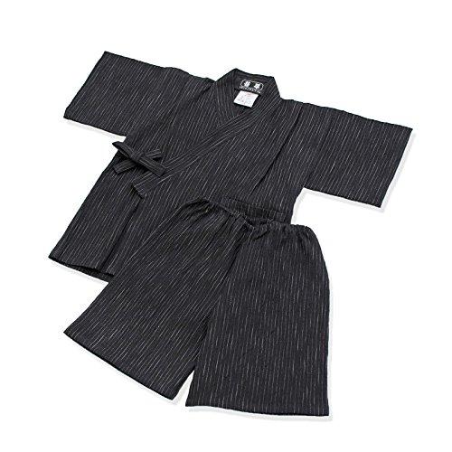 IKISUGATA Kids Jinbei Summertime Casual Wear Omi Chijimi Kasuriori 120 Black by IKISUGATA