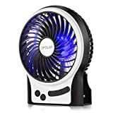 OPOLAR F201 Rechargeable Portable Mini USB fan with Upgrade 2200mAh Battery,with Internal and Side Light, 3 Speeds, Personal Cooling for Traveling,Boating,Fishing,Camping
