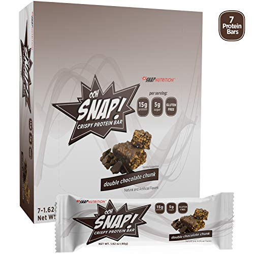 Ooh Snap Nutrition Gluten Free Crispy Protein Bar, Natural and Artificial Double Chocolate Chunk Flavors – 7 Count Box