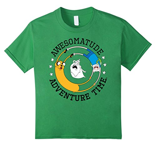 Time Graphic Tee (Kids Cartoon Network Awesomatude Adventure Time Graphic T-Shirt 10 Grass)