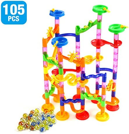 Powerextra 105Pcs Marble Run Set Toy for Kids Education Mini Marble Building Set Marble Maze Game Gift for Girl Boy (75 Marbulous Pieces + 30 Glass Marbles)