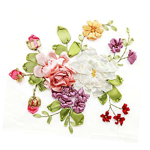 Baosity Handmade Ribbon Embroidery Kits DIY Flower Bouquet Painting Wall Decoration Stamp Embroidery kit No Frame - 03