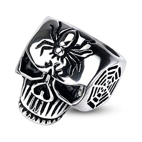 Jinique STR-0167 Stainless Steel Spider Web Skull Cast Men's Ring; Comes With Free Gift Box (14.5)