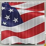 BINGO FLAG Funny Fabric Shower Curtain Waving USA Flag Waterproof Bathroom Decor With Hooks 60 X 72 Inch