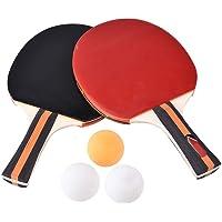 Alomejor Juego de Ping Pong de Tenis de Mesa: Paquete de 2 Raquetas de paletas de Primera Calidad y 3 Bolas de Tenis de…