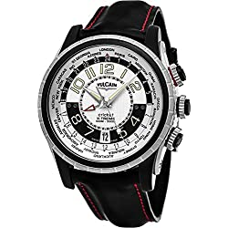Vulcain Cricket X-TREME Mens Manual Wind World Time Silver Face Alarm Date Black leather Strap Swiss Watch 161925.163CF