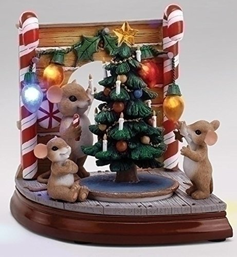 "Roman 7.25"" LED Lighted Musical Rotating ""Charming Tails"" Mouse Hole Scene with Christmas Tree by Roman"
