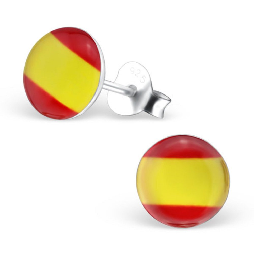 925 Sterling Silver Round Spain Flag Stud Earrings 26131