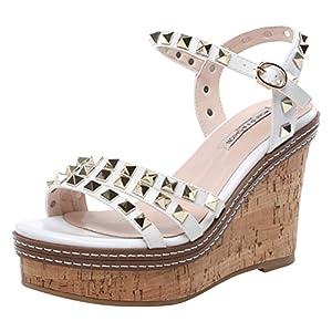 T&Mates Womems Fashion Comfort Rivets-Studded Strap Platform Wedge Heel Sandals (7 B(M)US,White)