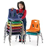 Berries Kids Classroom Stacking Chairs with Chrome-Plated Legs 12'' Height Set of 6 Blue