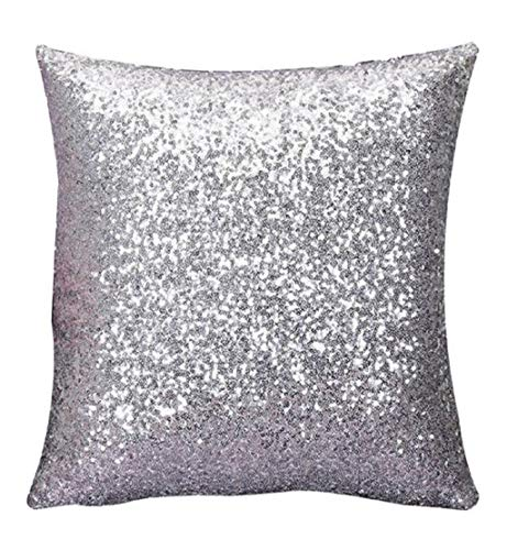 - DEESEE(TM)Solid Color Glitter Sequins Throw Pillow Case Cafe Home Decor Cushion Covers (Silver)