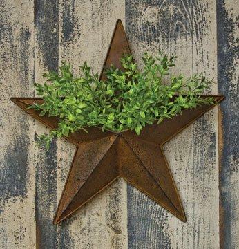Large Pocket Dimensional Rustic Steel Metal Barn Star Hanger, 16-inch, Makes Great Planter